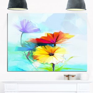 'Amazing Watercolor of Spring Daisies' Painting Print on Wrapped Canvas by Design Art