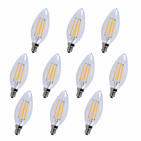 4W E12/Candelabra LED Vintage Filament Light Bulb (Set of 10) by Elegant Lighting