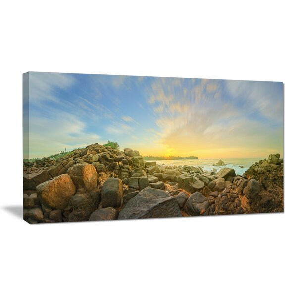 Beautiful Romantic Beach Sunrise Photographic Print on Wrapped Canvas by Design Art