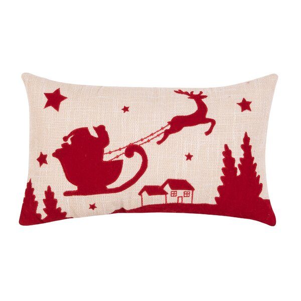 Walter Santa and Reindeer Lumbar Pillow by The Holiday Aisle