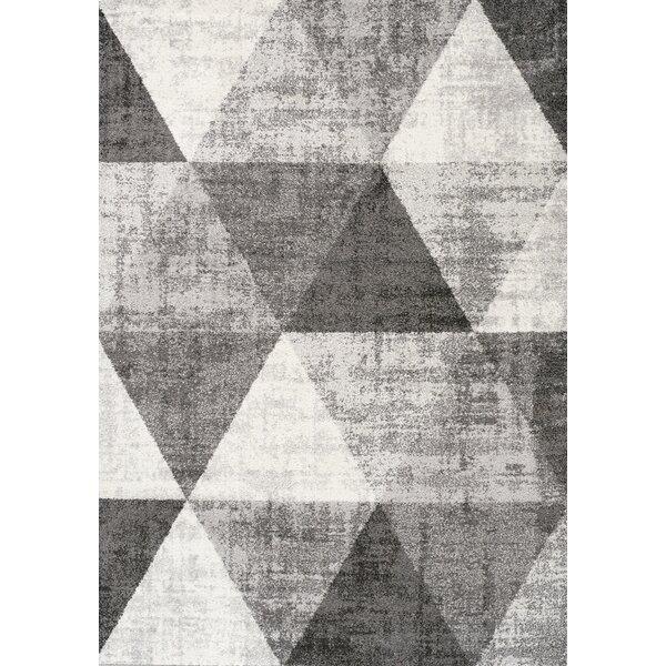 Artigoran Distressed Triangles Gray/Cream Area Rug by Ivy Bronx
