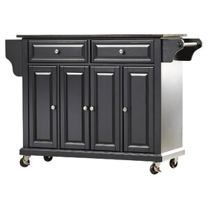 Abbate Kitchen Island with Solid Black Granite Top