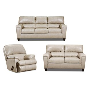 Gaudioso 3 Piece Leather Match Configurable Living Room Set by Ebern Designs