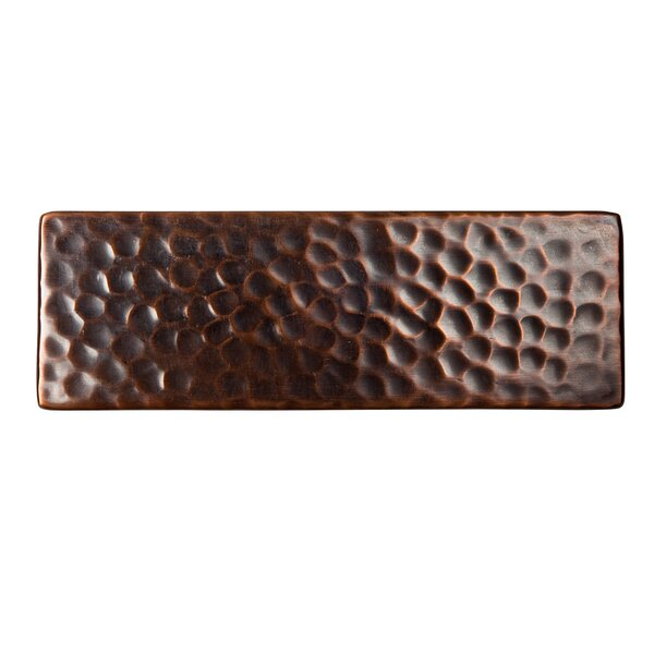 Solid Hammered Copper 6 x 2 Decorative Accent Tile in Antique Copper by The Copper Factory