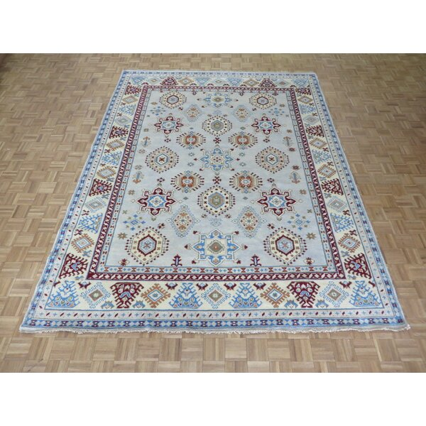 One-of-a-Kind Padula Tribal Hand-Knotted Wool Aqua Blue Area Rug by Bloomsbury Market