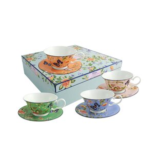 Cottage Garden 4 Piece Windsor Teacup And Saucer Set