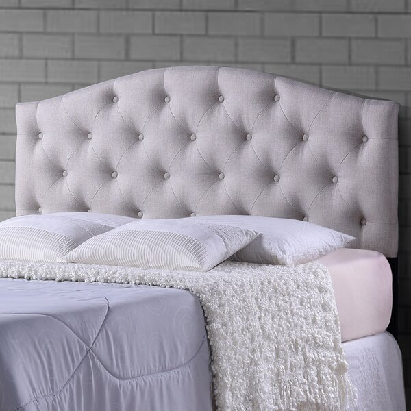 Myra Light Beige Scalloped Queen Upholstered Panel Headboard by Wholesale Interiors