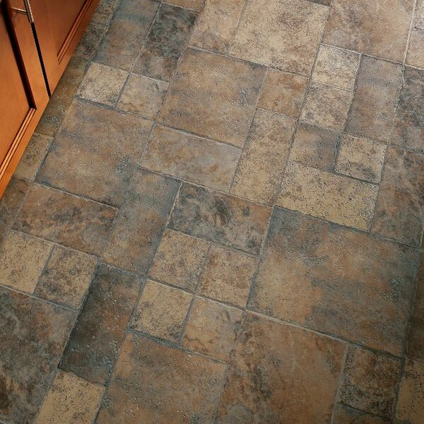 Stones and Ceramics 15.94 x 47.75 x 8.3mm Tile Laminate Flooring in Weathered Way Earthen Copper by Armstrong Flooring