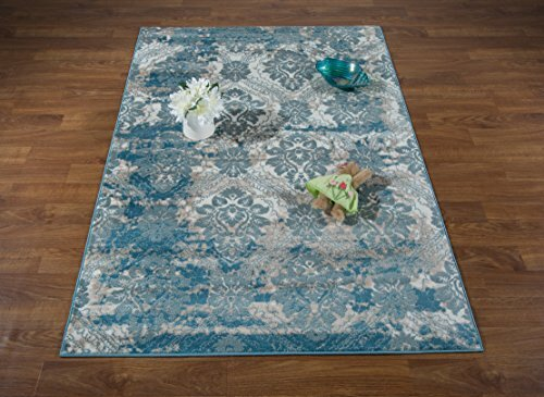 Brinkley Blue/Cream Area Rug by House of Hampton