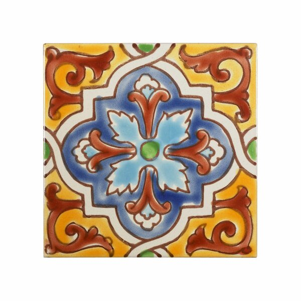 Mediterranean 4 x 4 Ceramic Monaco Decorative Tile in Red/Yellow/Blue by Casablanca Market