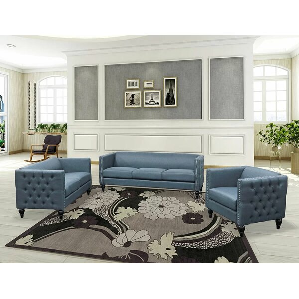 Armour Tufted Contemporary Nailhead Blue 3 Piece Living Room Set By Canora Grey Spacial Price
