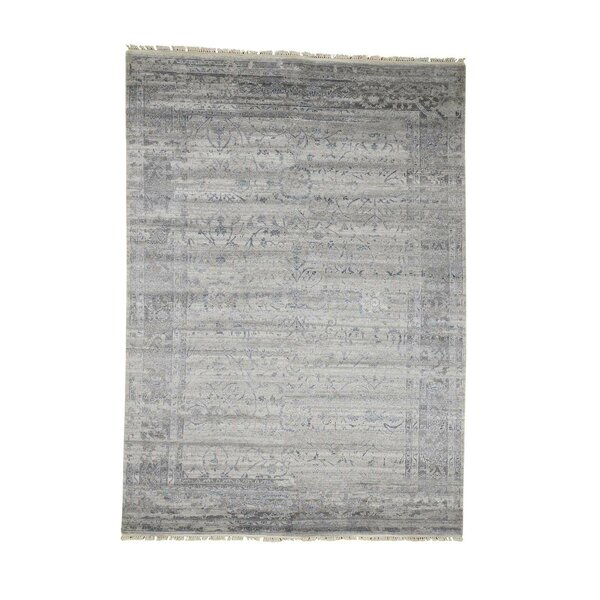 One-of-a-Kind Newbold Agra Broken Oriental Hand-Knotted Silk Gray Area Rug by Williston Forge