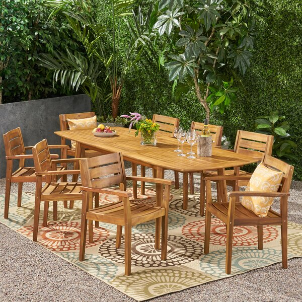 Rehm Outdoor Expandable 9 Piece Dining Set by Highland Dunes