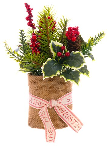 Holly Berry and Pine Mixed Centerpiece in Pot by The Holiday Aisle