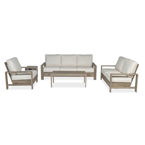 Boykin Deep 3 Piece Teak Sunbrella Sofa Seating Group with Sunbrella Cushions by Rosecliff Heights