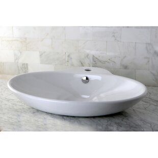 Bargain Oliva Ceramic Oval Vessel Bathroom Sink with Overflow ByKingston Brass