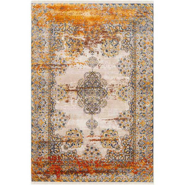 Elvis Distressed Saffron/Beige/BlueArea Rug by Charlton Home