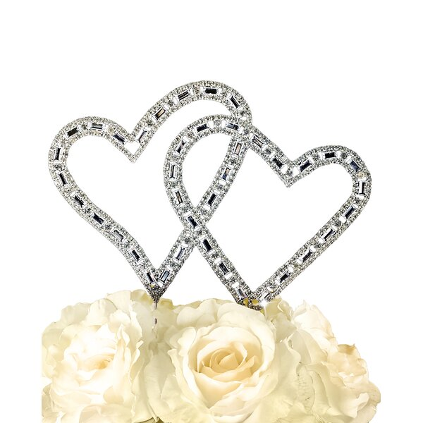Timeless Angled Double Heart Cake Topper by Unik Occasions