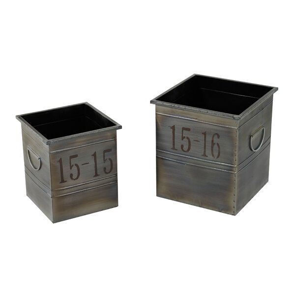 Cottone 2-Piece Metal Planter Box Set by Williston Forge