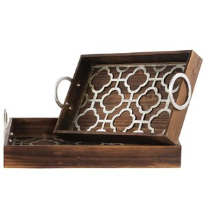 2 Piece Wood Nesting Tray Set