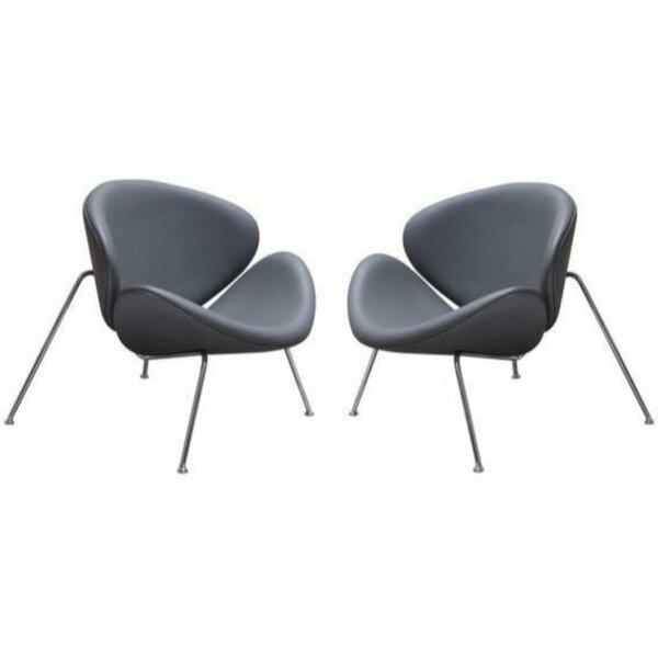 Juna Leather  Papasan Chair (Set of 2) by Orren Ellis