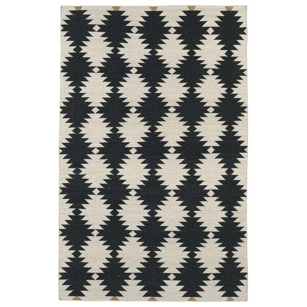 Marble Falls Black & Cream Geometric Area Rug by Wrought Studio