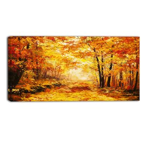 Autumn Forest Landscape Painting Print on Wrapped Canvas by Design Art