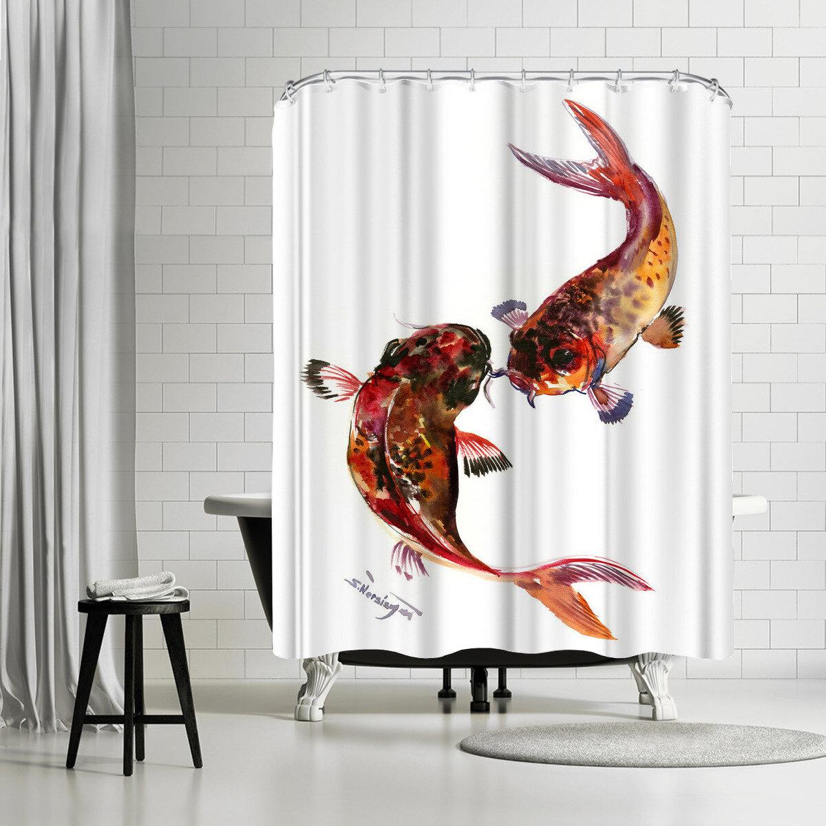 East Urban Home Suren Nersisyan Feng Shui Koi Fish Single Shower Curtain Wayfair