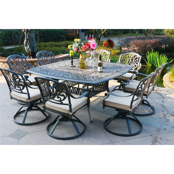 Barbee Aluminum 9 Piece  Dining Set with  Cushions