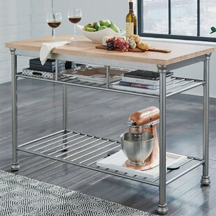Hamann Prep Table with Butcher Block Top by Williston Forge