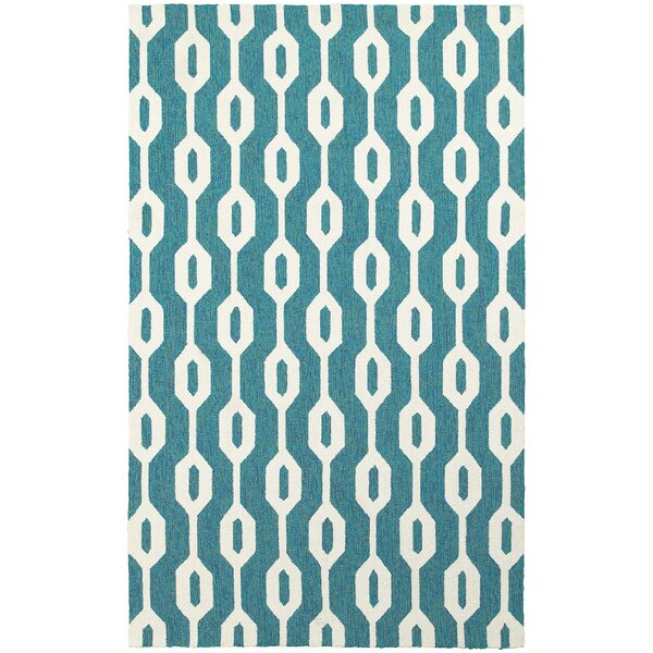 Atrium Geometric Odgee Hand-Woven Blue/Ivory Indoor/Outdoor Area Rug by Tommy Bahama Home