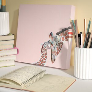 Caitlin You And Me Giraffe by Cathy Walters Stretched Canvas Wall Art by Viv + Rae