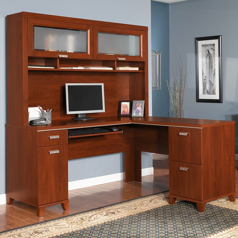 red barrel studio cosner l shaped computer desk with hutch wayfair. Black Bedroom Furniture Sets. Home Design Ideas