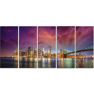 New York City Manhattan Skyline Red 5 Piece Wall Art on Wrapped Canvas Set by Design Art
