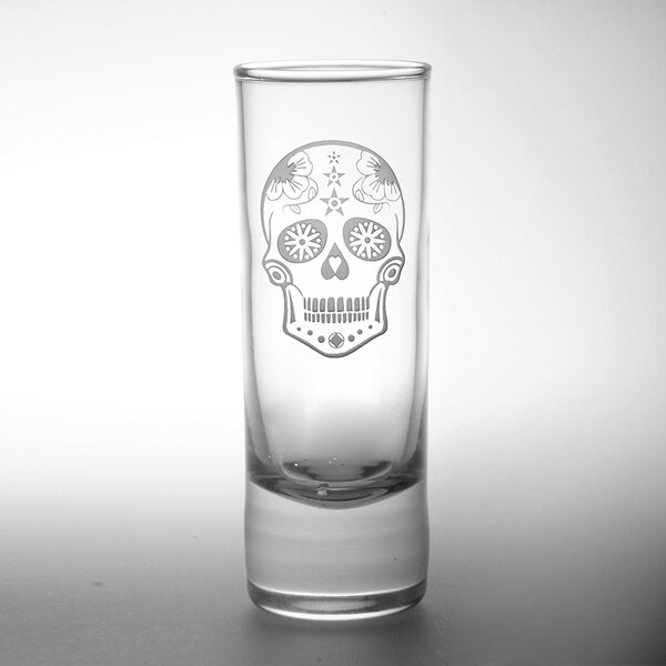 Sugar Skull Cordial 2.5 Oz. Glass (Set of 4) by Rolf Glass