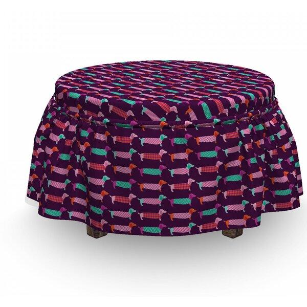 Dachshund Sixties Puppy 2 Piece Box Cushion Ottoman Slipcover Set By East Urban Home