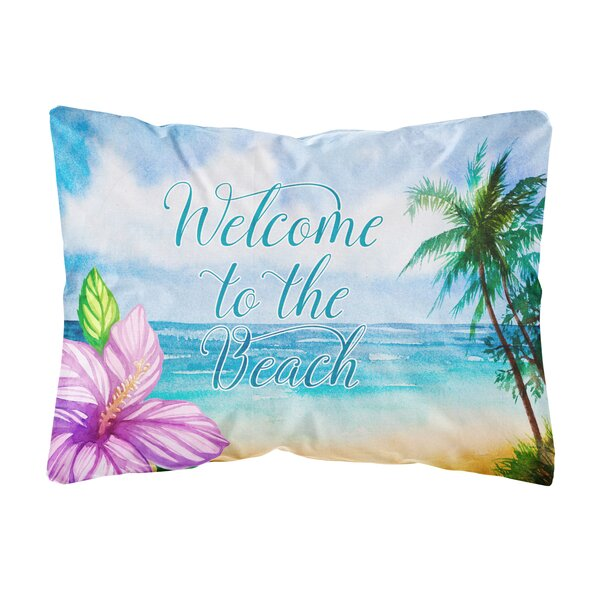 Mercy Beach Scene Welcome Indoor/Outdoor Throw Pillow by Highland Dunes