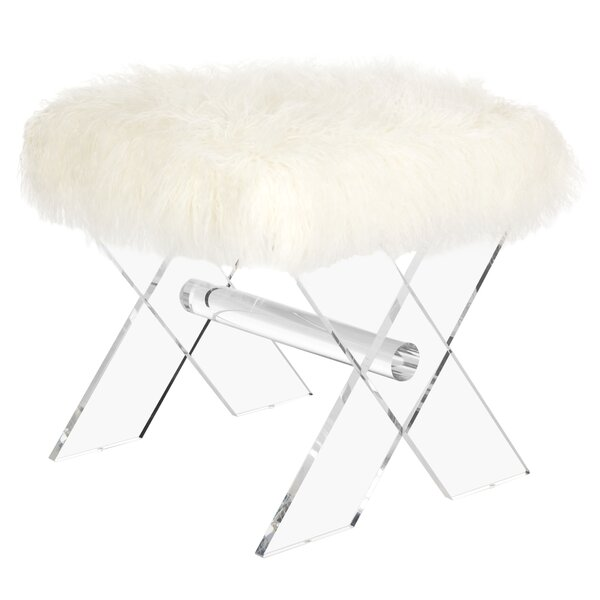 Kaster Sheepskin Accent Stool by Everly Quinn