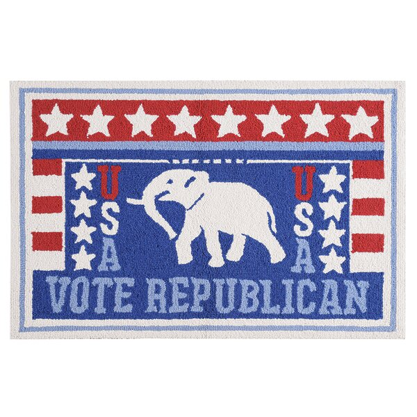 Horace Vote Republican Wool Blue Area Rug by Winston Porter