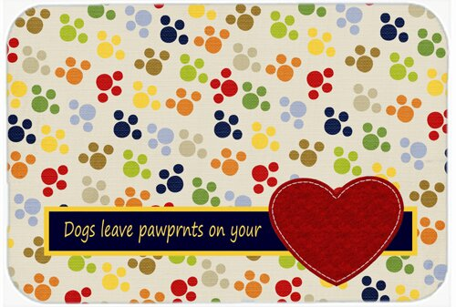 Dogs Leave Pawprints on Your Heart Rectangle Non-Slip Text Bath Rug