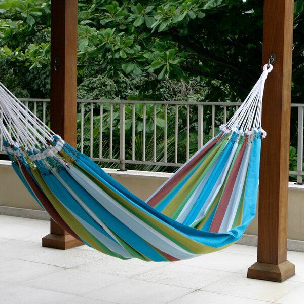 Double Person Fair Trade Striped Tropical Day Hand-Woven Brazilian Cotton Indoor And Outdoor Hammock by Novica
