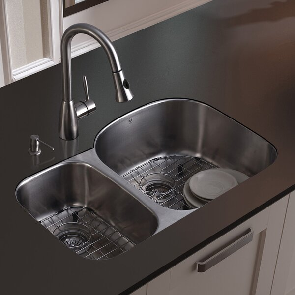 31 L x 21 W Double Basin Undermount Kitchen Sink with Faucet, Grid, Strainer and Soap Dispenser by VIGO