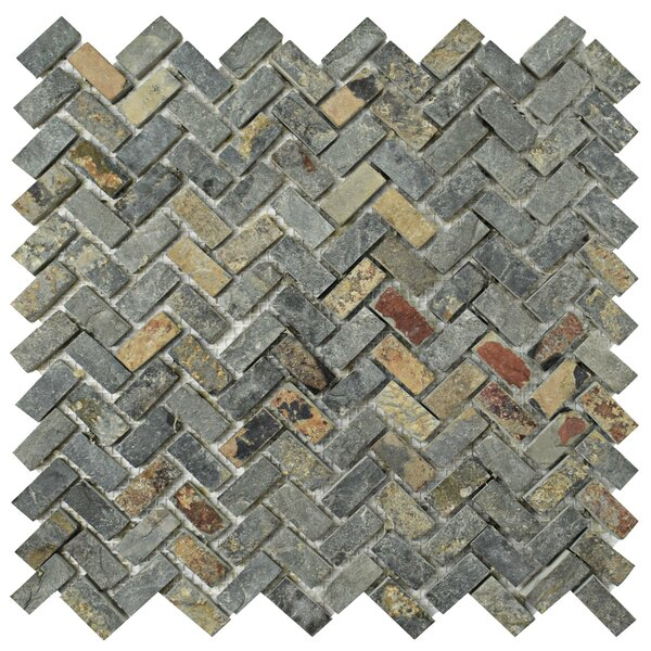 Peak Herringbone 0.63 x 1.25 Slate Mosaic Tile in Sunset by EliteTile