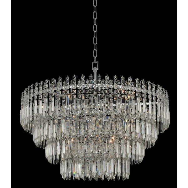 Beideman 15 - Light Unique / Statement Tiered Pendant with Crystal Accents by Rosdorf Park Rosdorf Park