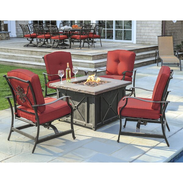 Rhonda 5-Piece Fire Pit Patio Set with 4 Cushioned Rockers in Red and 40,000 BTU Propane Gas Fire Pit by Fleur De Lis Living