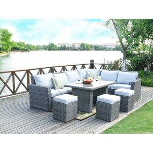 Cates 4 Piece Rattan Sofa Seating Group with Cushions By Rosecliff Heights