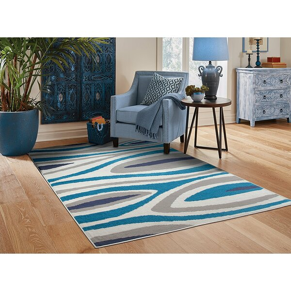 Costantini Leaf Pattern Gray/Blue Indoor/Outdoor Area Rug by Ebern Designs