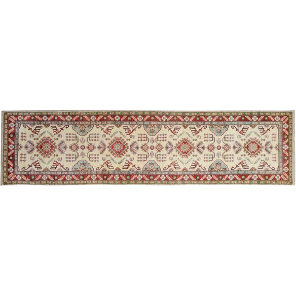 One-of-a-Kind Flavia Hand-Knotted Wool Ivory/Red Area Rug by Darby Home Co