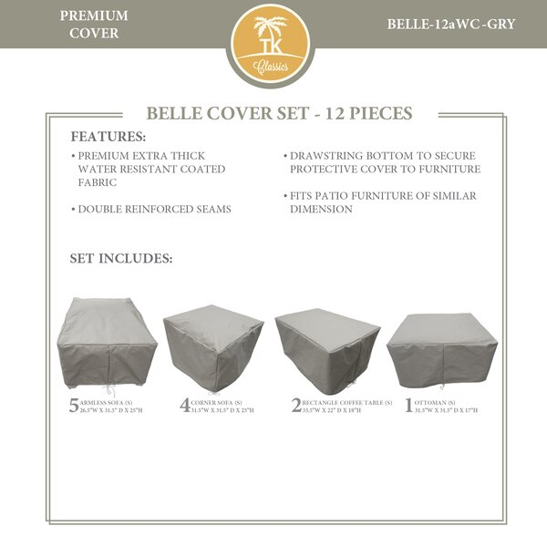 Bee 12 Piece Water Resistant Patio Furniture Cover Set by TK Classics
