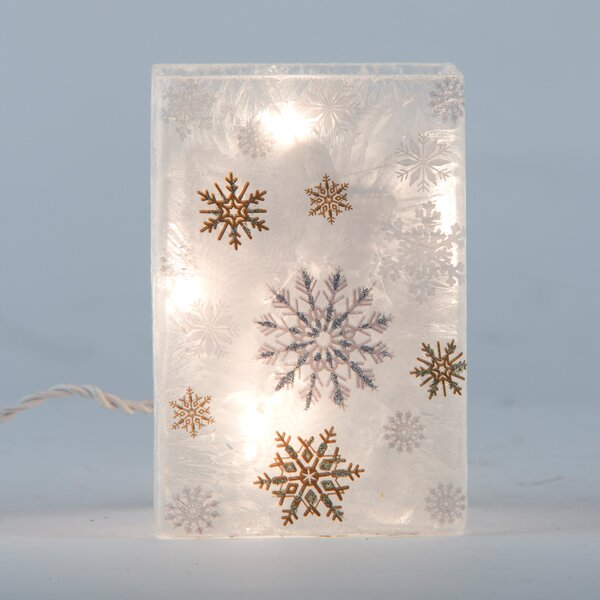 Lighted Round Frosted Glass Snowflake Hurricane by Glitzhome